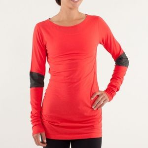 Lululemon Devotion Long Sleeve Red & Charcoal Tee